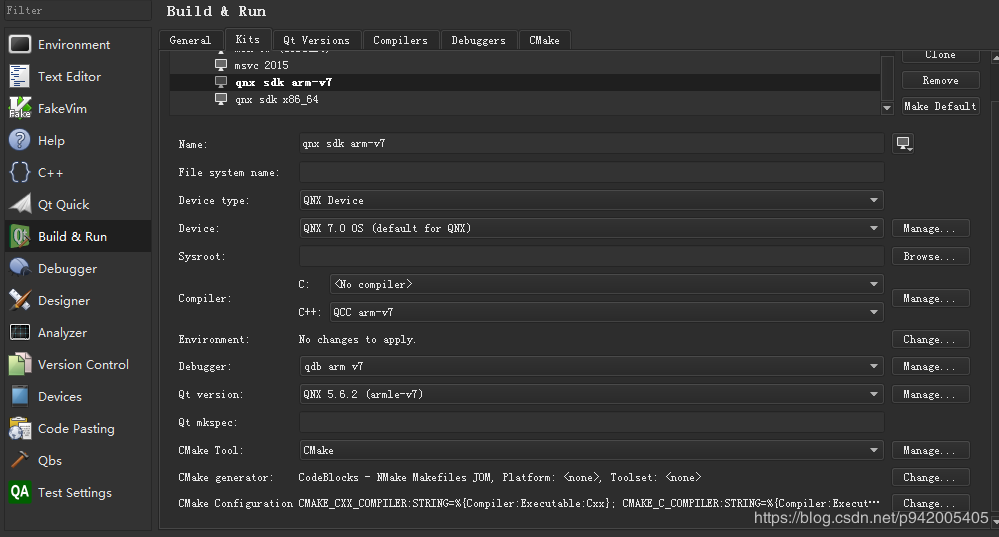 QNX 7 0 platform QT development environment configuration