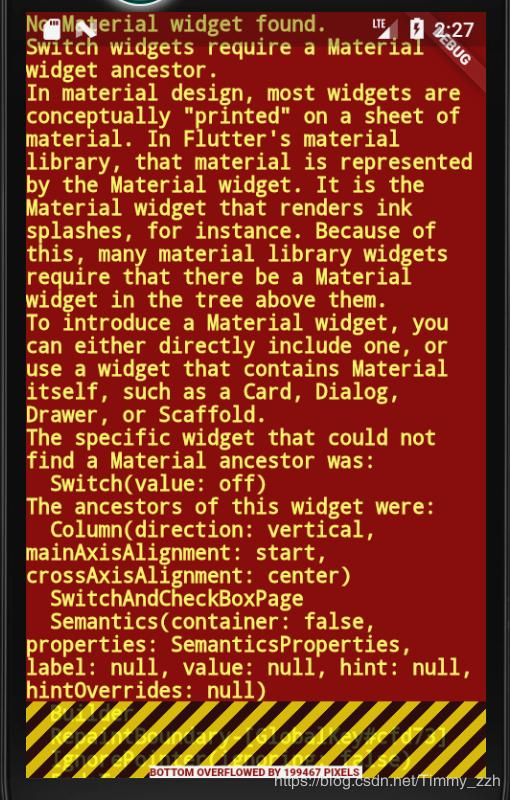 Flutter gives an error: No Material widget found Switch