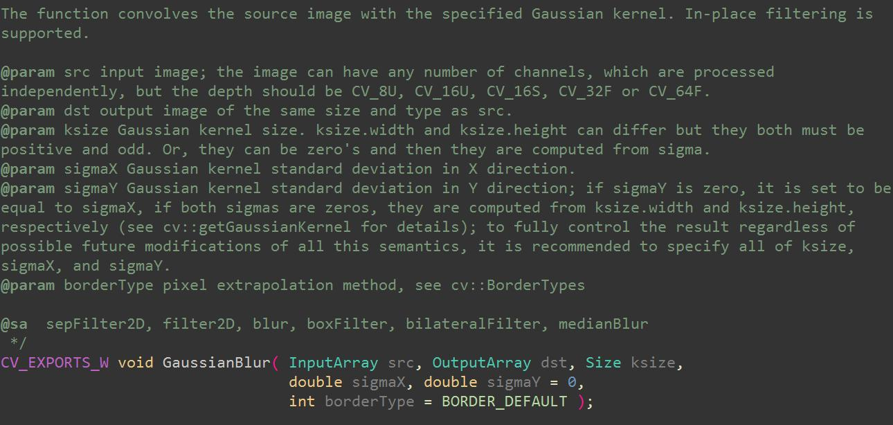 Source code analysis of Gaussian blur (filter) in opencv
