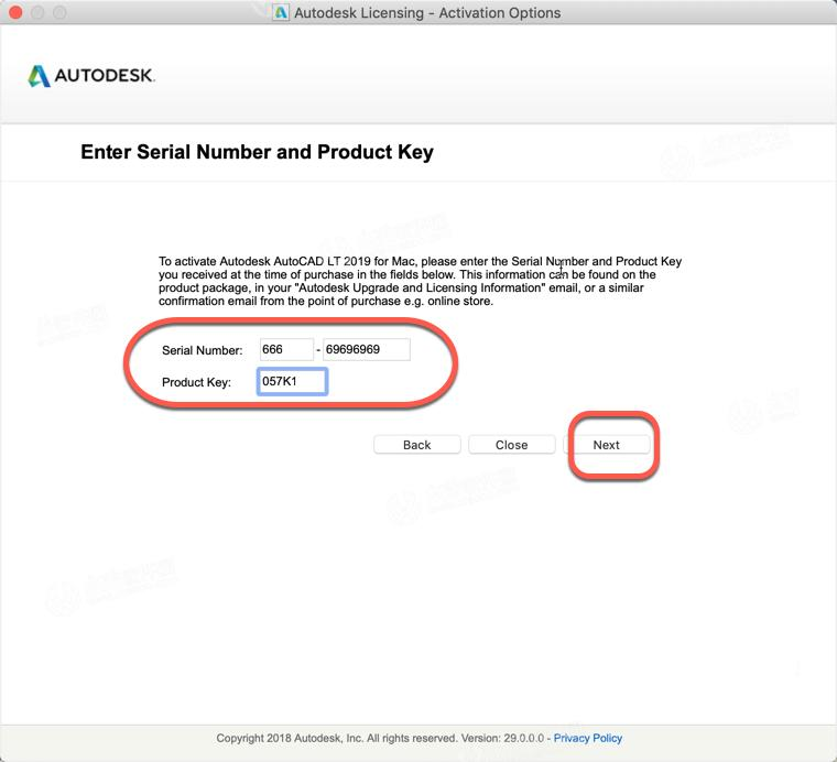 serial key and product key for autocad 2019