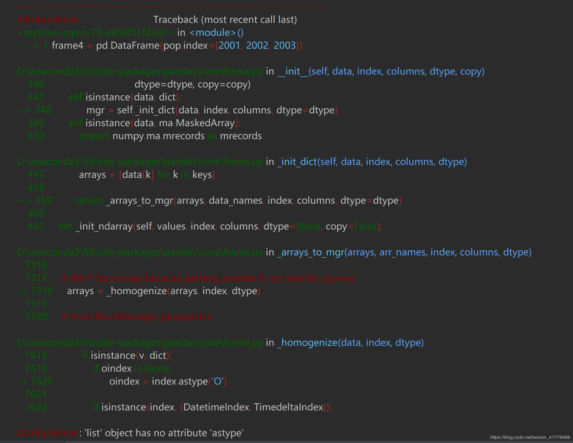 Pandas has encountered an error using DataFrame: AttributeError