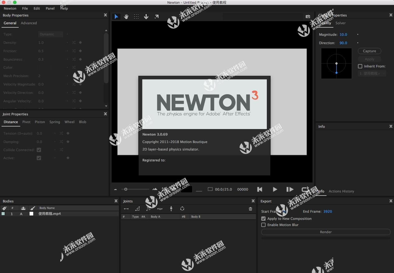 AE Newton Dynamics Plug-in Motion Boutique Newton 3 Mac