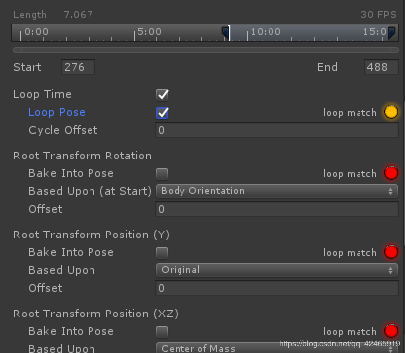 Unity Animator checked the use of Loop Pose, the animation