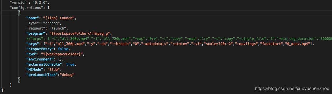 How to use VScode in mac to debug ffmpeg, x264 and x265