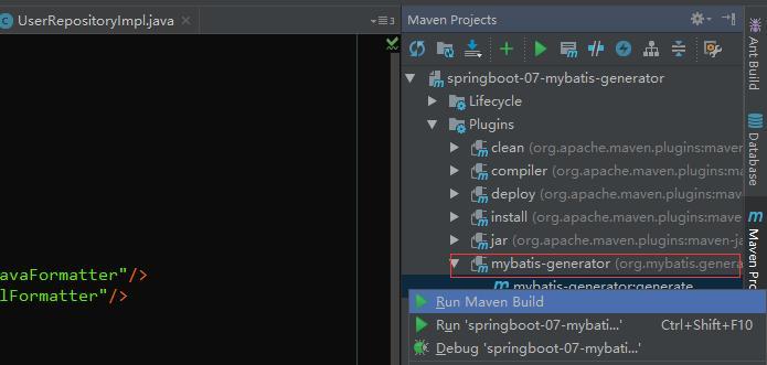 Automatically generate code using Mybatis Generator