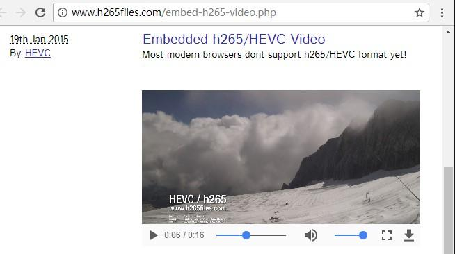 H 265/HEVC in the practice of web video playback